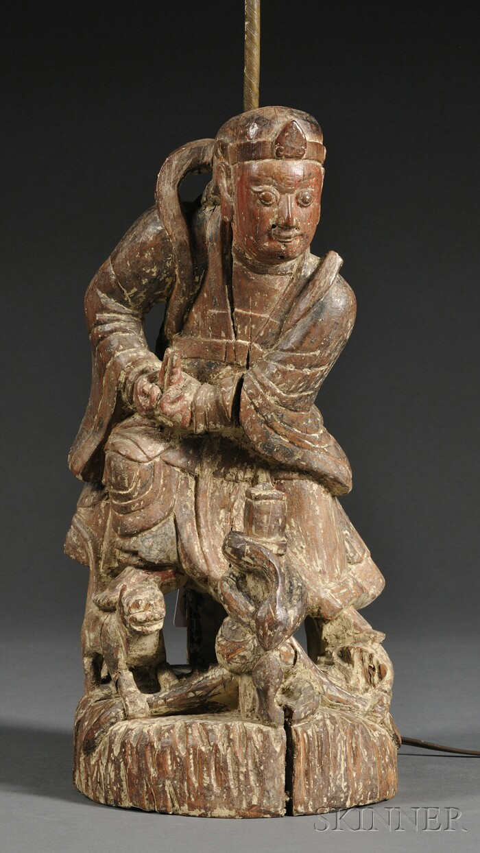 Chinese Polychrome Carved Wood Figure of a Warrior