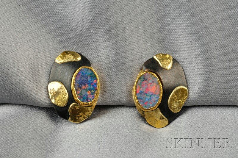 Mixed Metal and Assembled Opal Earclips, Janiye