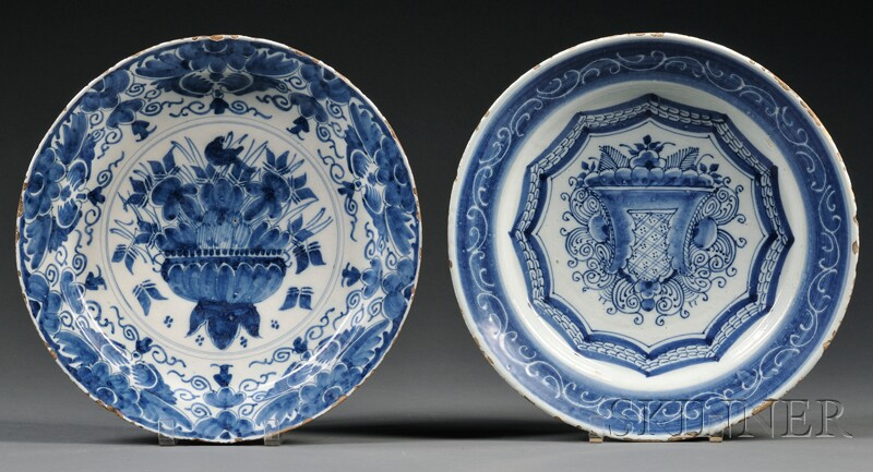 Two Dutch Delft Blue and White Chargers