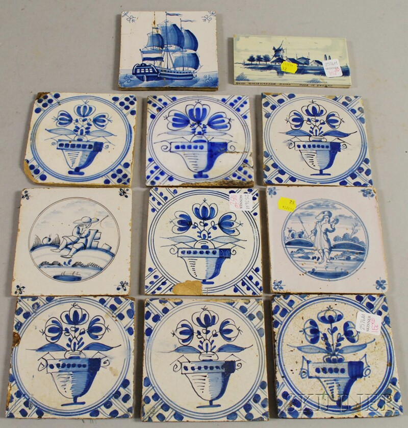 Ten Delft Blue and White Pottery Tiles and a Small Dutch Landscape-decorated Tile