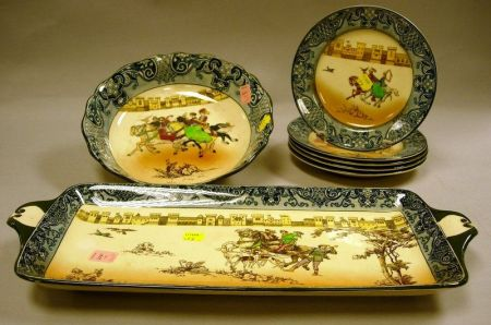 Seven-Piece Doulton Burslem Falconry Pattern Dessert Set