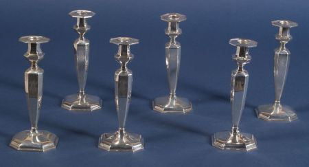Set of Six Durgin Weighted Sterling Candlesticks