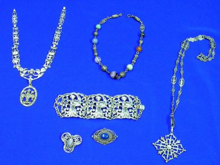 Six European Silver Jewelry Items