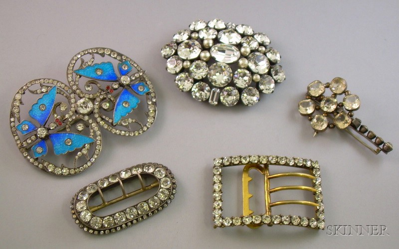 Three Paste Buckles and a Three Brooches