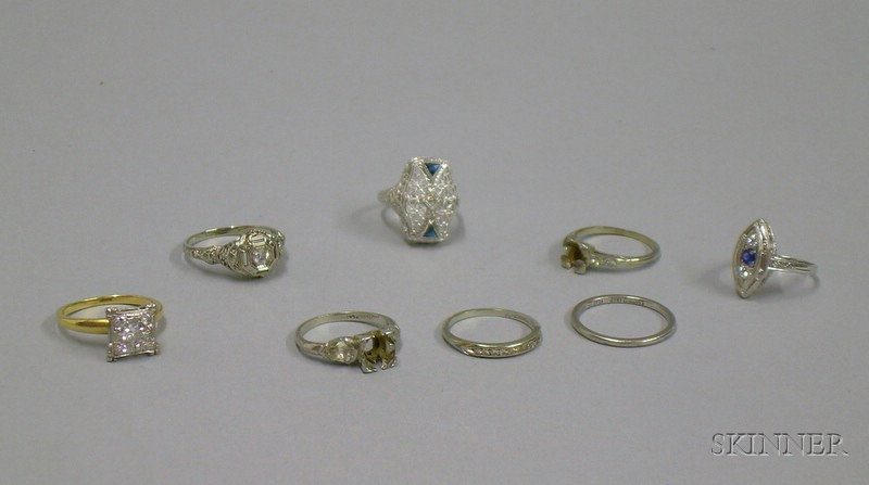 Eight Assorted White Gold, Platinum, and Diamond Rings, Settings, and Bands.