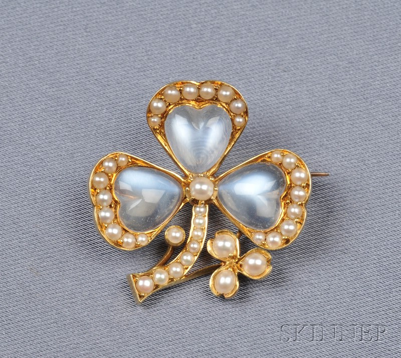 Antique 14kt Gold, Moonstone, and Seed Pearl Clover Pin