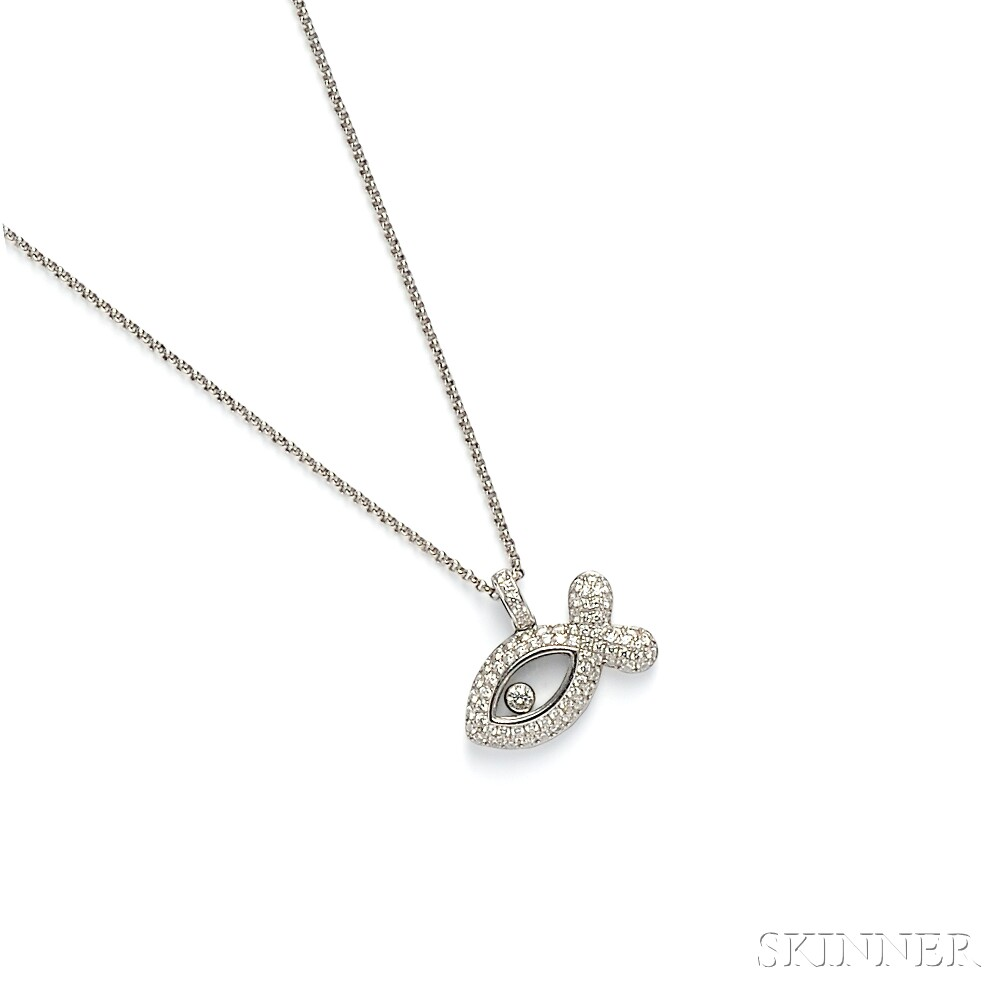 """18kt White Gold and Diamond """"Happy Fish"""" Pendant, Chopard"""