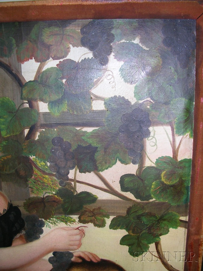 Susan Catherine Moore Waters (American, 1823-1900)      Portrait of a Girl and Her Dog in a Grape Arbor.