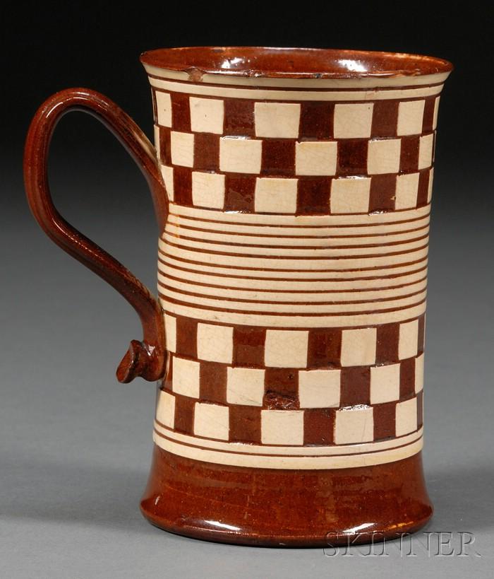 Checkered Red Earthenware Pint Mug