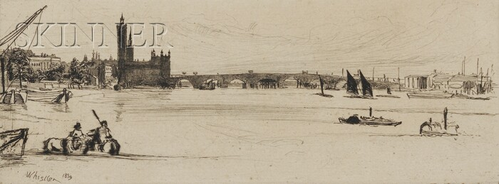 James Abbott McNeill Whistler (American, 1834-1903)      Lot of Two Thames Views: Thames Warehouses