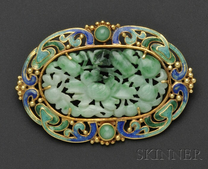 Arts & Crafts 18kt Gold, Jade, and Enamel Brooch, F.G. Hale