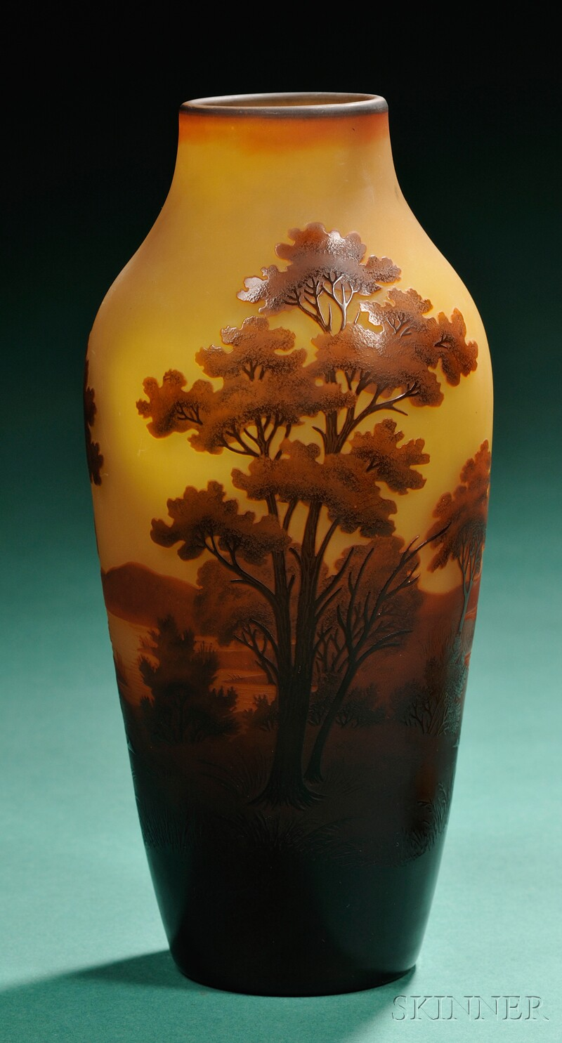 D'Argental Decorated Cameo Glass Vase
