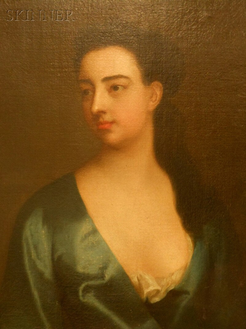 British School, 18th Century      Portrait of a Woman in Blue