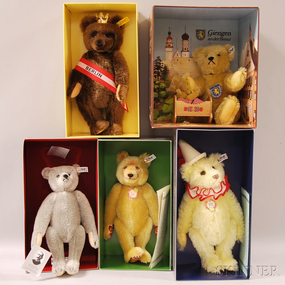 Five Steiff Mohair Teddy Bears in Original Boxes