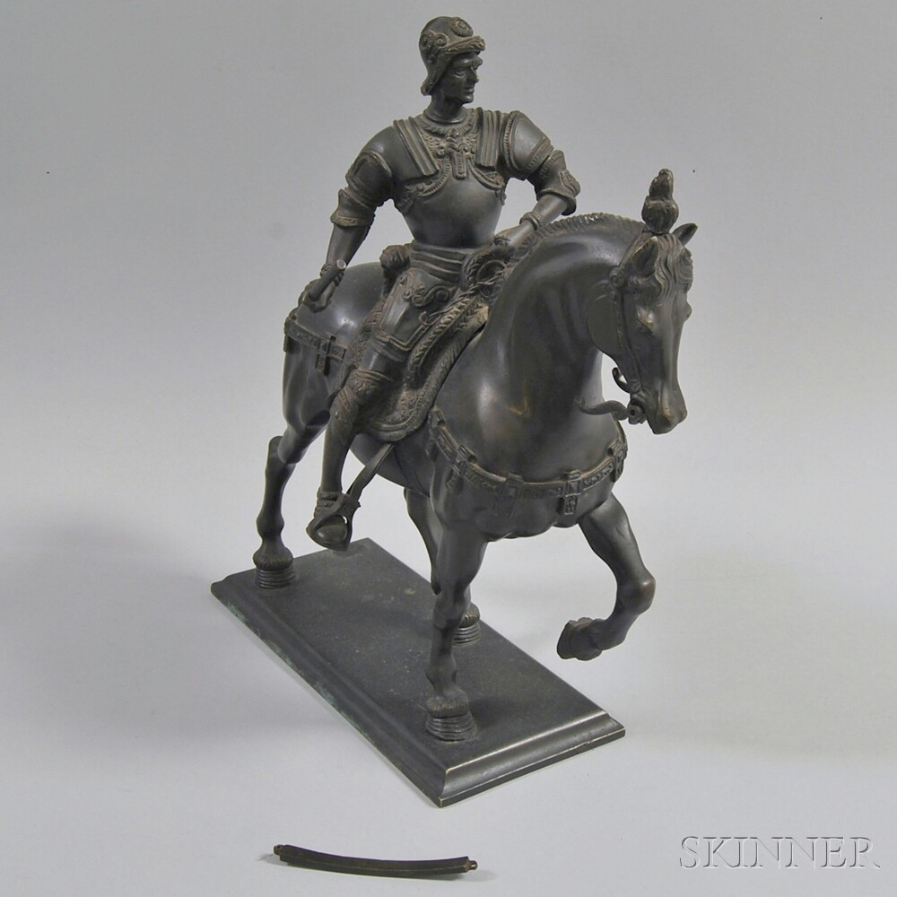 Bronze Sculpture of a Knight on Horseback