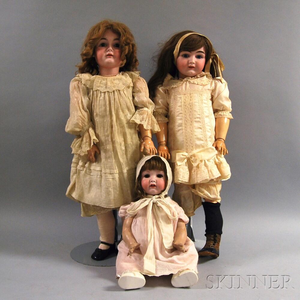 Three Large German Bisque Head Dolls