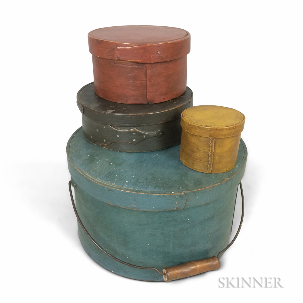 Four Painted Bentwood Lapped-seam Boxes