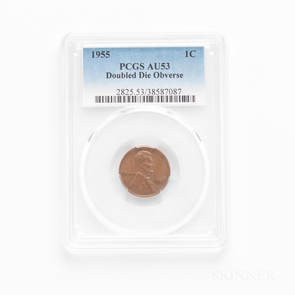 1955 Doubled Die Obverse Lincoln Cent, PCGS AU53BN.     Estimate $600-800