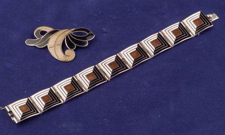 Art Deco Silver and Enamel Bracelet, Margot de Taxco