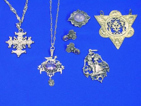 Six European Silver Jewelry Items