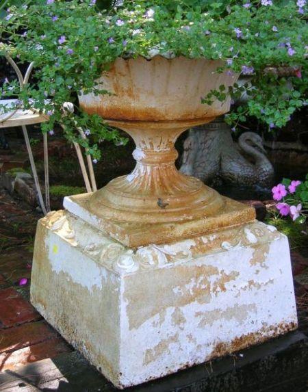 C.E. Walbridge, Buffalo, White Painted Cast Iron Garden Urn with Pedestal Base.