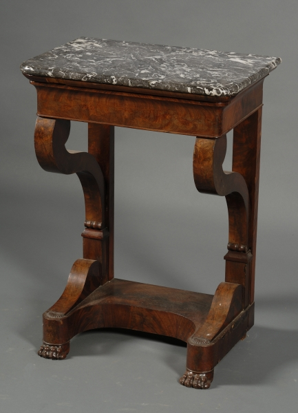 Empire Marble-top Carved Mahogany and Veneer Wash Stand