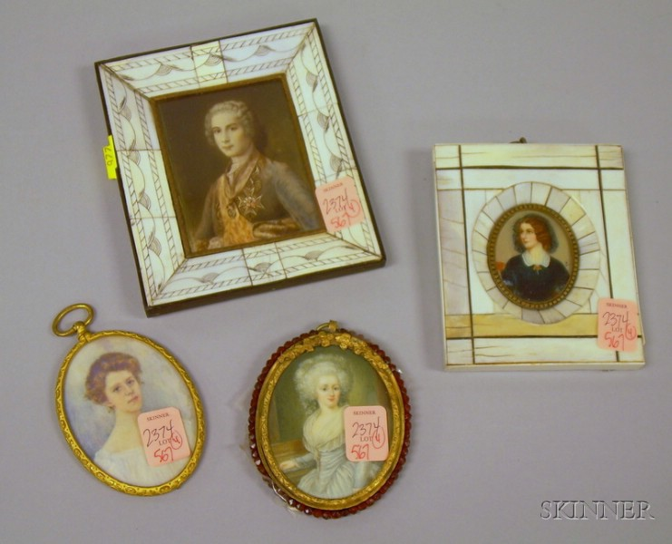 Four Assorted Framed Miniature Hand-painted Portraits