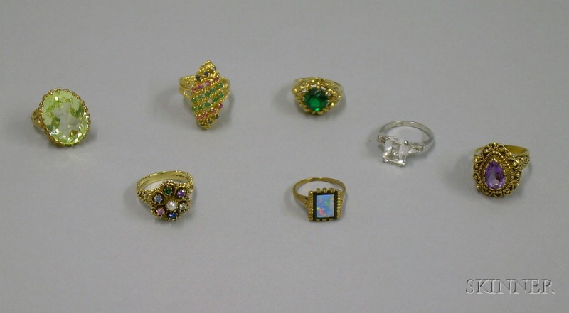 Six Mostly 10kt Gold Gem and Cut Glass Rings