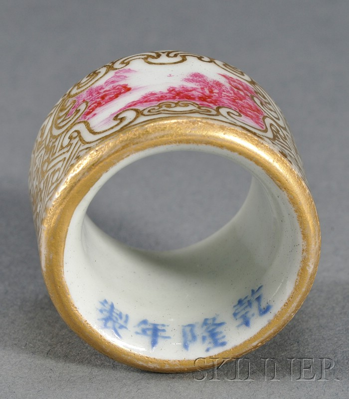Rose-red Enameled and Gilt Archer's Ring