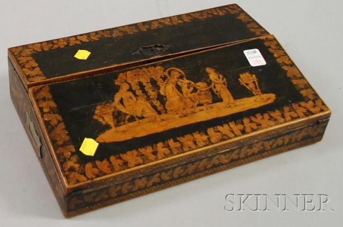 Classical Penwork-decorated Wood Lap Desk