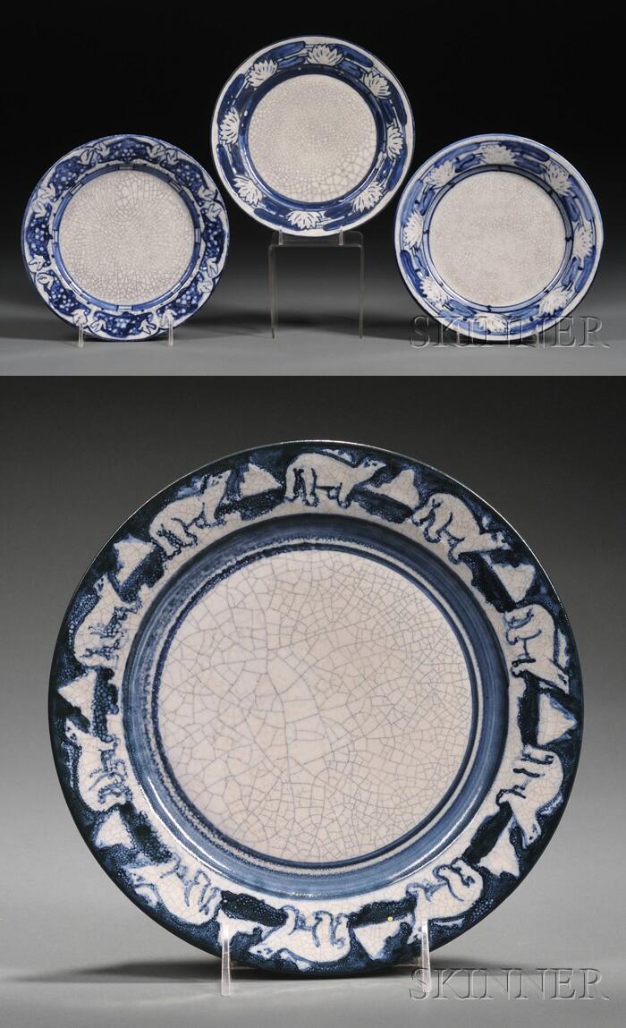Four Dedham Pottery Plates