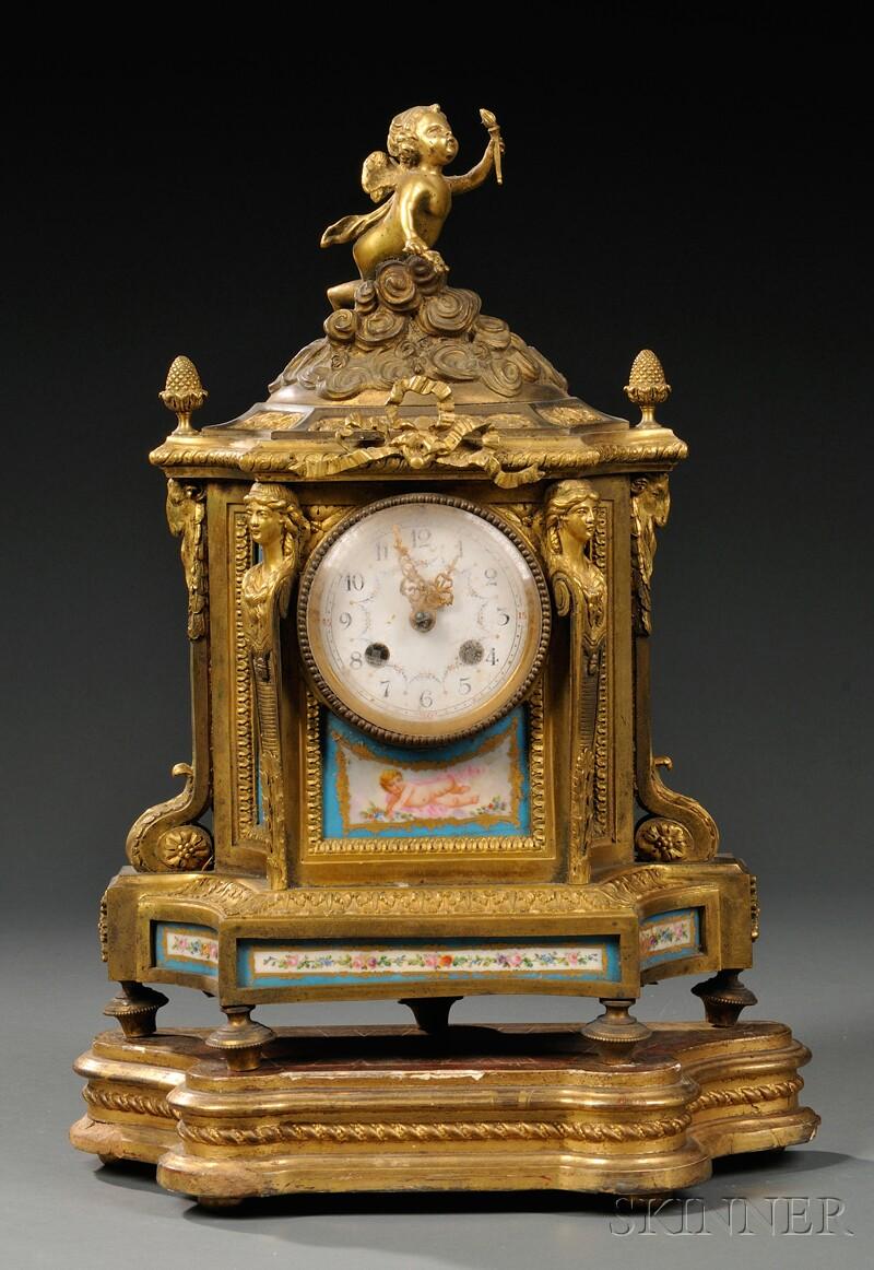 Sevres-style Porcelain and Gilt-bronze Mantel Clock
