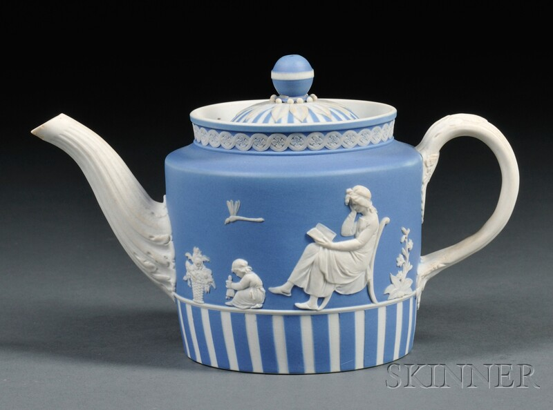 Wedgwood Blue Jasper Dip Teapot and Cover