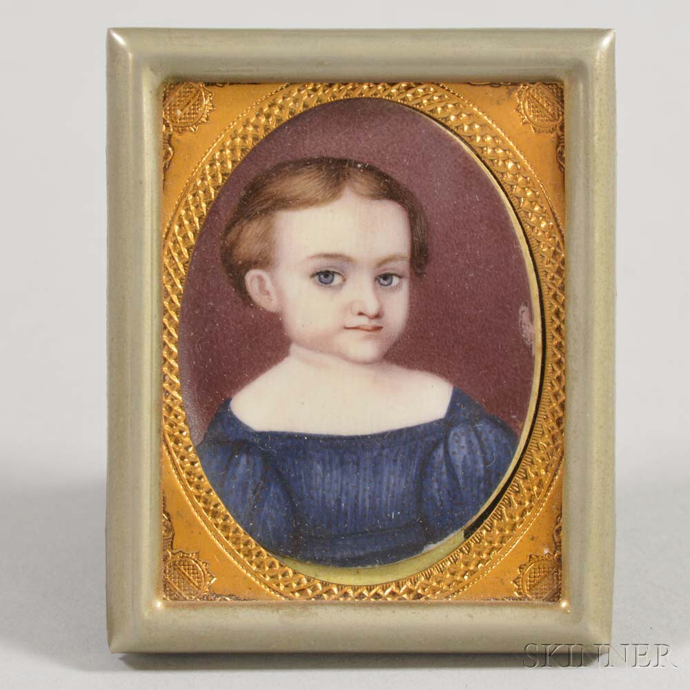 Framed Watercolor Portrait Miniature of a Child