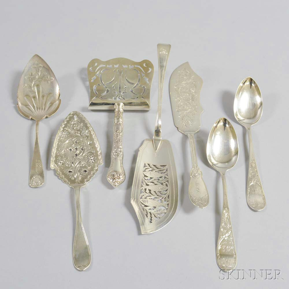 Seven Sterling Silver and Coin Silver Serving Pieces
