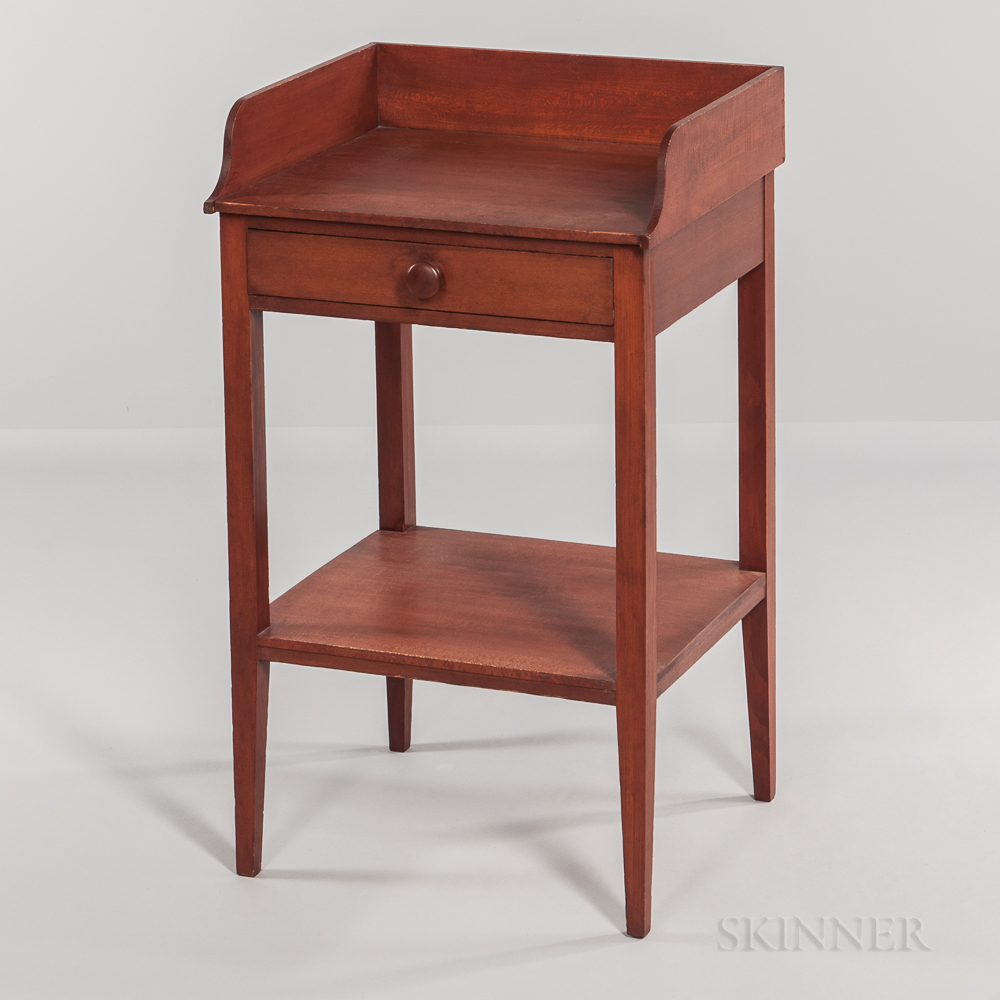 Shaker Red-painted Maple Washstand with Shelf