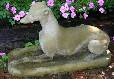 Cast Stone Recumbent Hound Garden Ornament