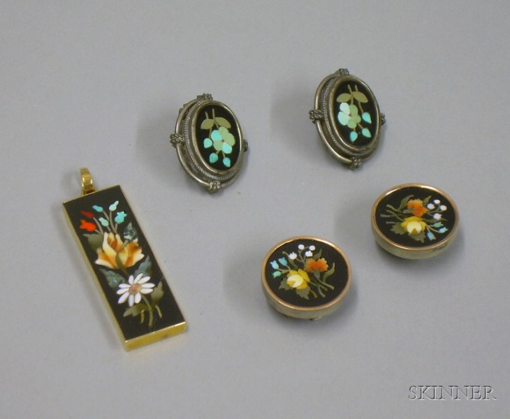 Group of Pietra Dura Jewelry Items