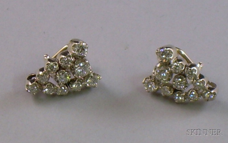 14kt White Gold and Diamond Earclips.