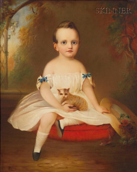 Attributed to William Sidney Mount (American, 1807-1868)      Portrait of a Child Seated in a Landscape with a Cat