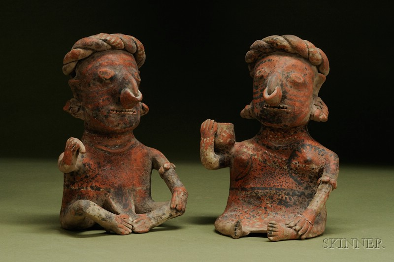 Pre-Columbian Painted Pottery Seated Couple