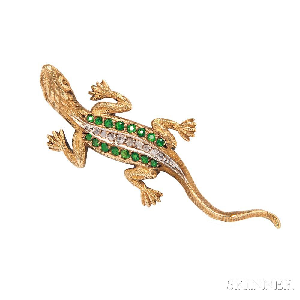 Antique Gold, Demantoid Garnet, and Diamond Lizard Brooch