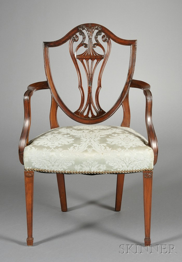 Hepplewhite-style Carved Mahogany Shield-back Armchair