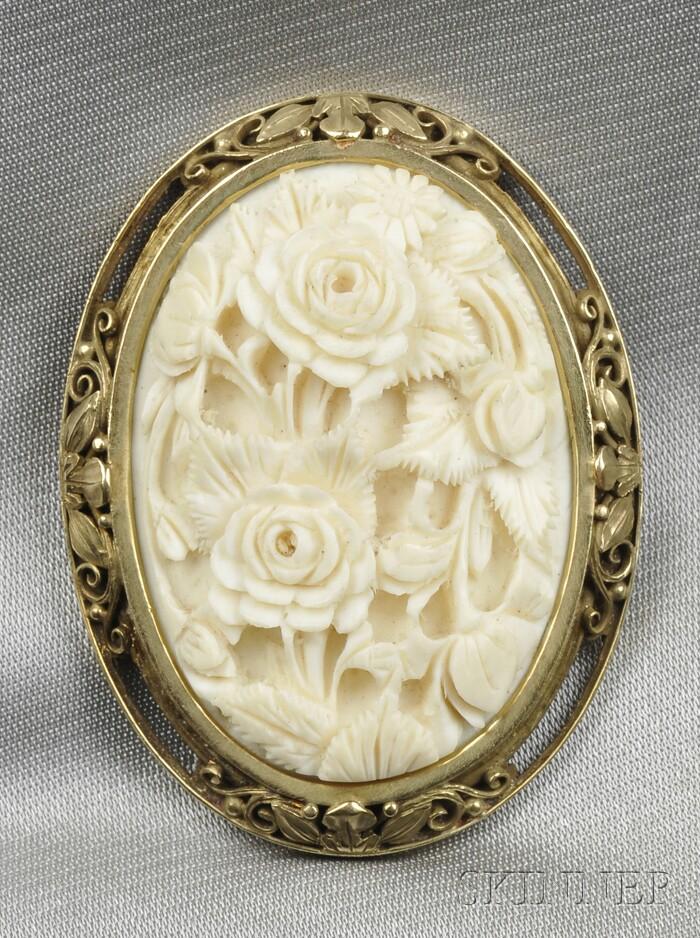Arts & Crafts Ivory Brooch