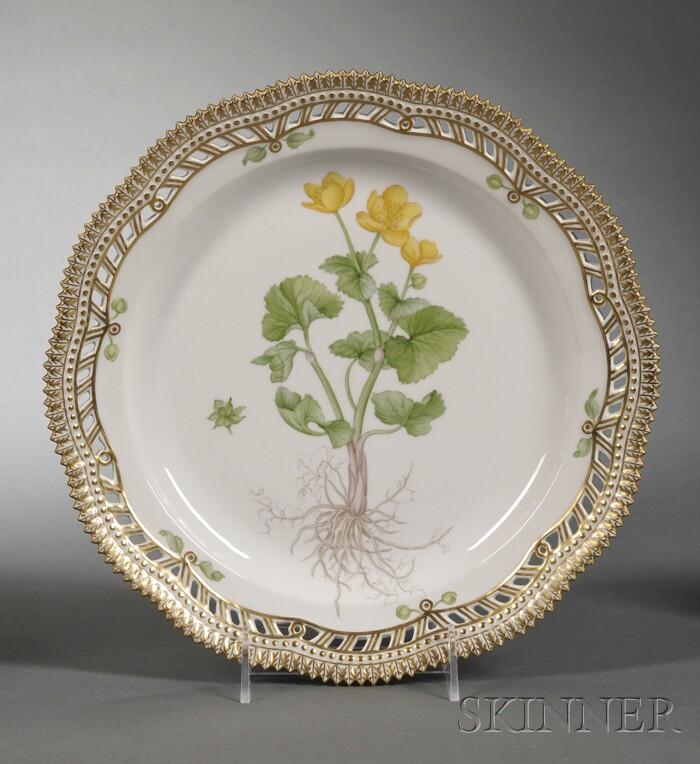 "Set of Twelve Royal Copenhagen Porcelain ""Flora Danica"" Dinner/Service Plates"