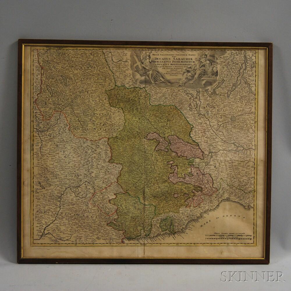 Framed Antique Map of Regional Italy