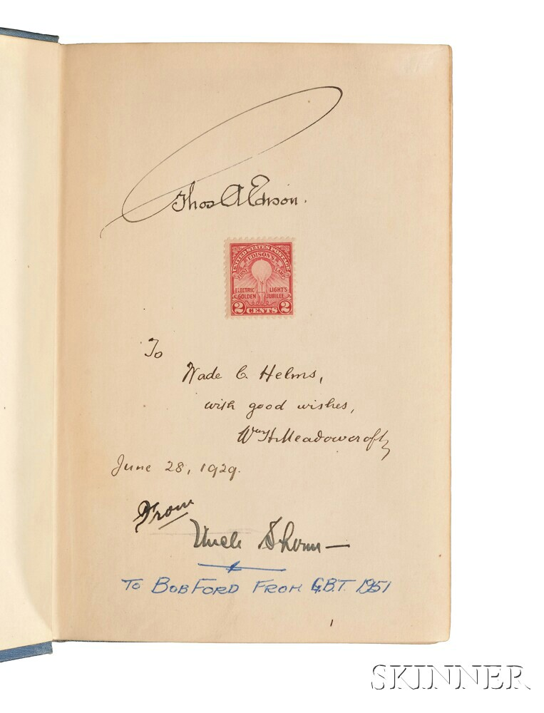 Edison, Thomas Alva (1847-1931) The Boy's Life of Edison  , Signed Copy.