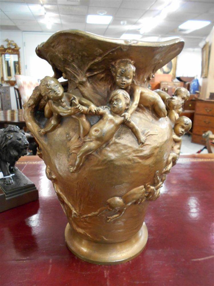 Continental Art Nouveau Bronze Vase