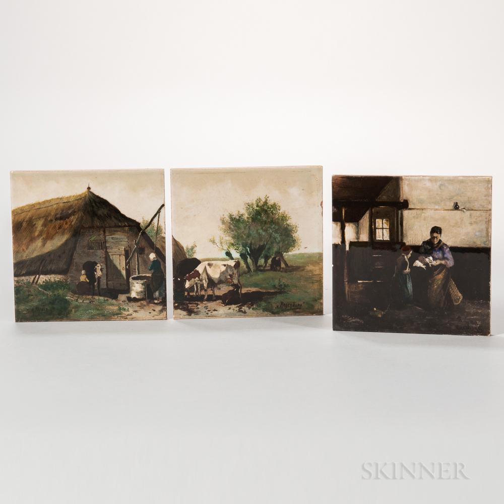 Three Rozenburg Pottery Tiles