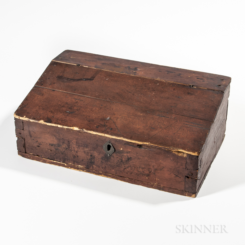 Red-stained Pine Slant-lid Desk Box